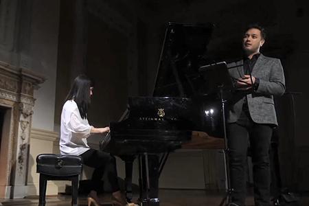 Myra Huang and Nicholas Phan perform at the Stotesbury Mansion